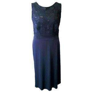 Navy Blue Elegant Sleeveless Sequin Dress